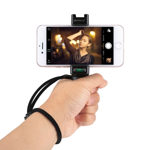 PULUZ Live Broadcast Handheld Grip Selfie Rig Stabilizer ABS Tripod Adapter Mount with Cold Shoe Base & Wrist Strap, For iPhone, Galaxy, Huawei, Xiaomi, Sony, HTC, Google and other Smartphones x cam sight2 2 axis smartphone handheld stabilizer mobile phone brushless gimbal with bluetooth for iphone samsung xiaomi nexus