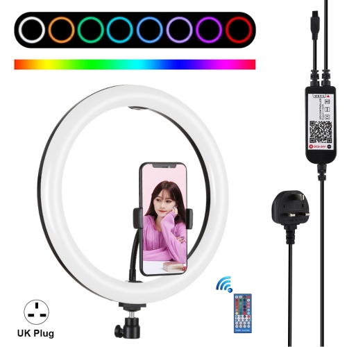 Mobile Gimbal Switch Adapter 6.2 inch USB 3 Modes Dimmable LED Ring On-Camera Video Lights with Cold Shoe Tripod Ball Head