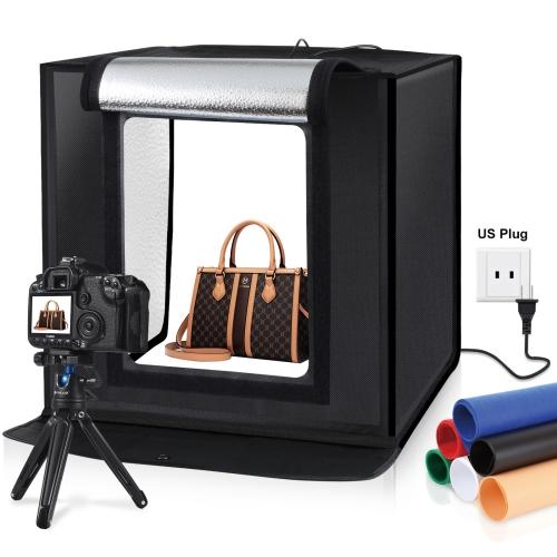 PULUZ 40cm Folding Portable 30W 5500K White Light Photo Lighting Studio Shooting Tent Box Kit with 6 Colors Backdrops (Black, Orange, White, Red, Green, Blue), Size: 40cm x 40cm x 40cm, US Plug portable 2 fold folding photo studio tripod light stand black
