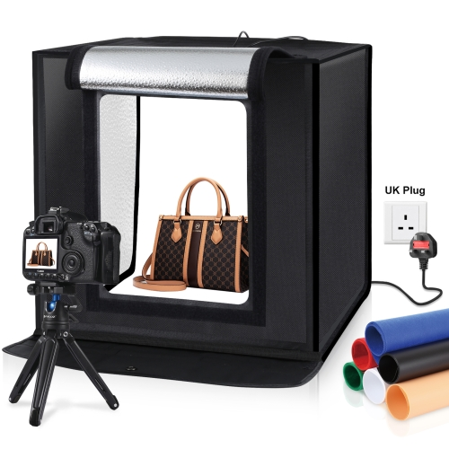 PULUZ 40cm Folding Portable 30W 5500K White Light Photo Lighting Studio Shooting Tent Box Kit with 6 Colors Backdrops (Black, Orange, White, Red, Green, Blue), Size: 40cm x 40cm x 40cm, UK Plug with BS Certificate hot portable photo booth with lighting 2 5l 2 5w 2 7hm inflatabe cube tipi tent inflatable booth with free fan toy tents
