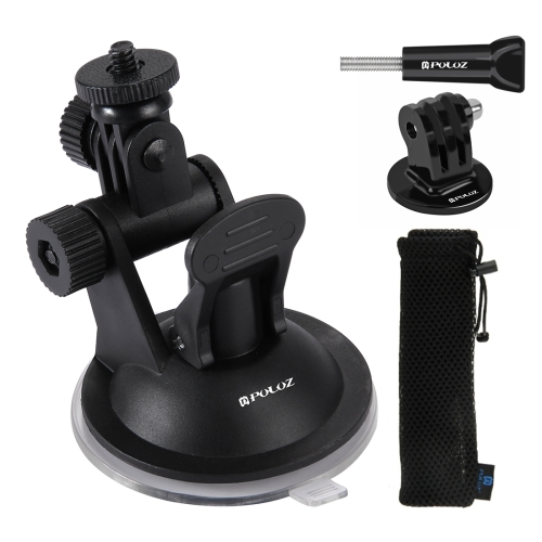 PULUZ Car Suction Cup Mount with Screw & Tripod Mount Adapter & Storage Bag for GoPro NEW HERO /HERO7 /6 /5 /5 Session /4 Session /4 /3+ /3 /2 /1, DJI Osmo Action, Xiaoyi and Other Action Cameras