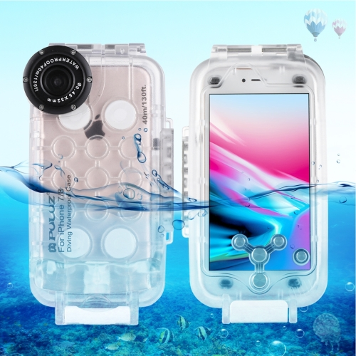 PULUZ for iPhone 8 & 7 40m/130ft Waterproof Diving Housing Photo Video Taking Underwater Cover Case(Transparent) archon d34vr underwater video diving photography flashlight