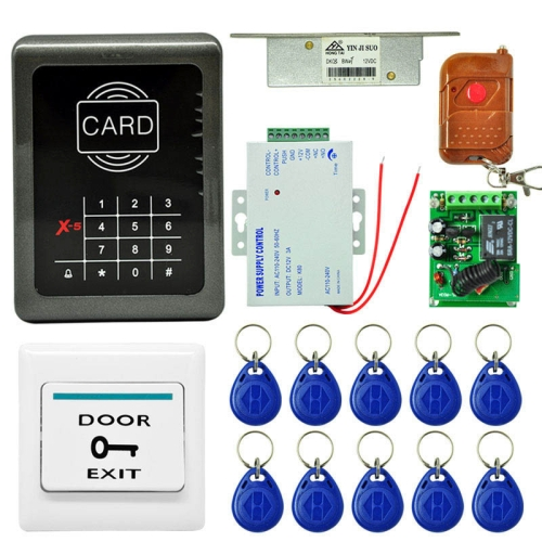 Buy MJPT001 Door Access Control System Kits + Strike Door Lock + 10 ID Keyfobs + Power Supply + Exit Button + Remote Controller for $52.32 in SUNSKY store