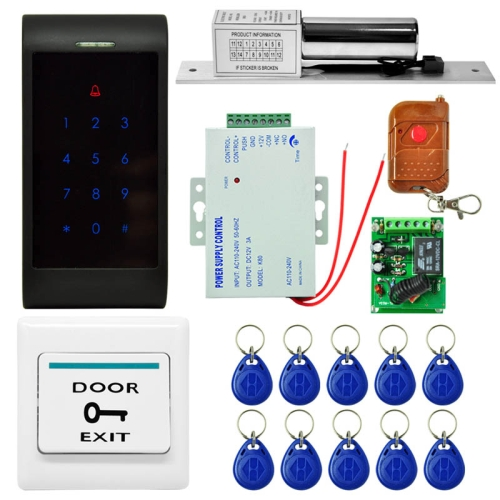 Buy MJPT002 Door Access Control System Kits + Strike Door Lock + 10 ID Keyfobs + Power Supply + Exit Button + Remote Controller for $57.00 in SUNSKY store