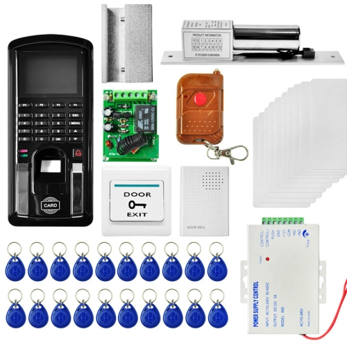 Buy MJPT103 Fingprint & Password Access Control System Kits + Electric Lock + 20 ID Keyfobs + 10 ID Cards + Power Supply + Door Bell + Exit Button + Remote Controller for $128.90 in SUNSKY store