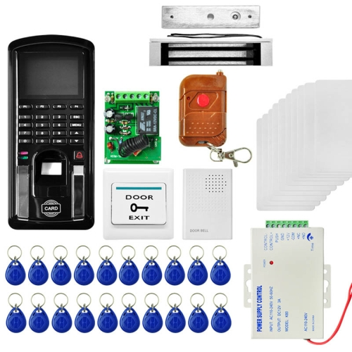 Buy MJPT104 Fingprint & Password Access Control System Kits + Magnetic Lock + 20 ID Keyfobs + 10 ID Cards + Power Supply + Door Bell + Exit Button + Remote Controller for $154.24 in SUNSKY store