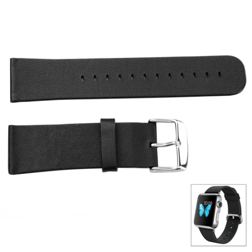 Buy For Apple Watch 38mm Genuine Leather Classic Buckle Watchband, Watchband Size: 109mm x 19mm x 1.78mm, 83.6mm x 21.9mm x 1.78mm, Only Used in Conjunction with Connectors (S-AW-3291), Black for $4.95 in SUNSKY store