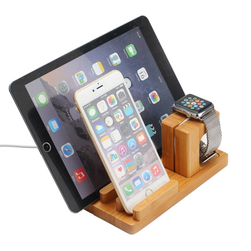 sunsky 3 in 1 bamboo charging holder display stand for. Black Bedroom Furniture Sets. Home Design Ideas
