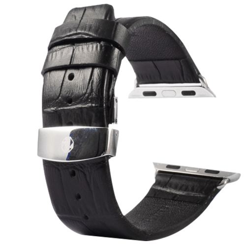 Buy Kakapi for Apple Watch 38mm Crocodile Texture Double Buckle Genuine Leather Watchband with Connector, Black for $11.69 in SUNSKY store