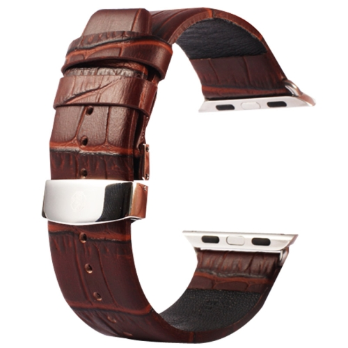 Buy Kakapi for Apple Watch 38mm Crocodile Texture Double Buckle Genuine Leather Watchband with Connector, Coffee for $11.69 in SUNSKY store