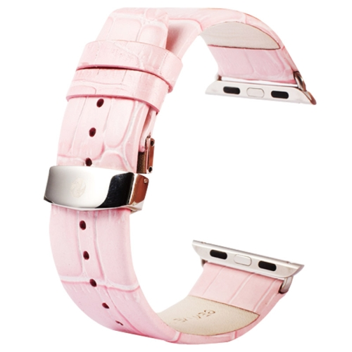 Kakapi for Apple Watch 38mm Crocodile Texture Double Buckle Genuine Leather Watchband with Connector, Pink