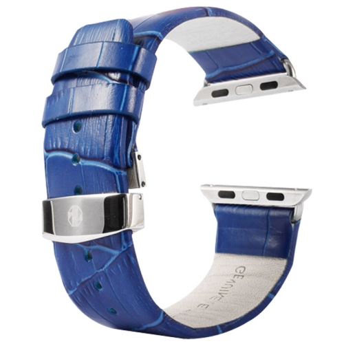 Buy Kakapi for Apple Watch 38mm Crocodile Texture Double Buckle Genuine Leather Watchband with Connector, Blue for $11.69 in SUNSKY store