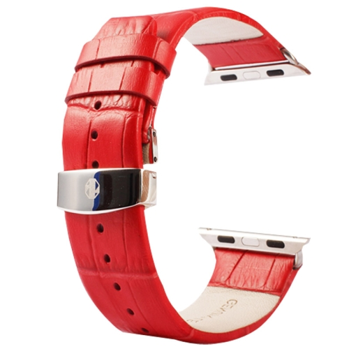 Buy Kakapi for Apple Watch 38mm Crocodile Texture Double Buckle Genuine Leather Watchband with Connector, Red for $11.69 in SUNSKY store
