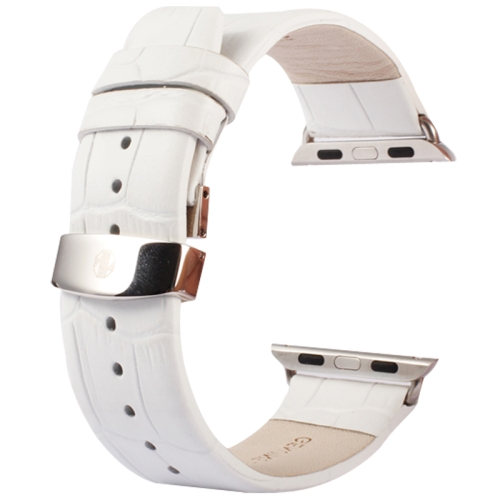 Buy Kakapi for Apple Watch 38mm Crocodile Texture Double Buckle Genuine Leather Watchband with Connector, White for $11.69 in SUNSKY store
