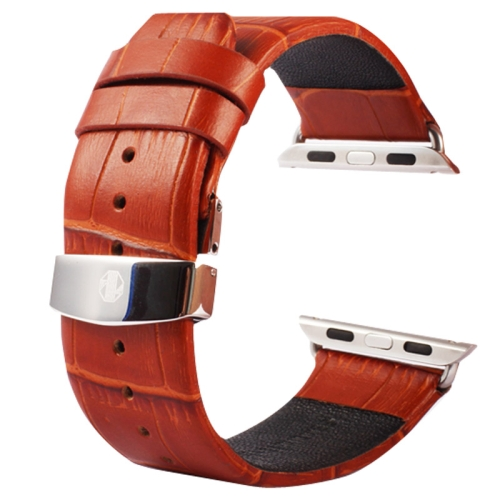 Buy Kakapi for Apple Watch 38mm Crocodile Texture Double Buckle Genuine Leather Watchband with Connector, Brown for $11.69 in SUNSKY store