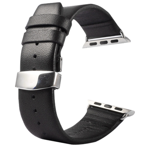 Buy Kakapi for Apple Watch 38mm Subtle Texture Double Buckle Genuine Leather Watchband with Connector, Black for $11.69 in SUNSKY store