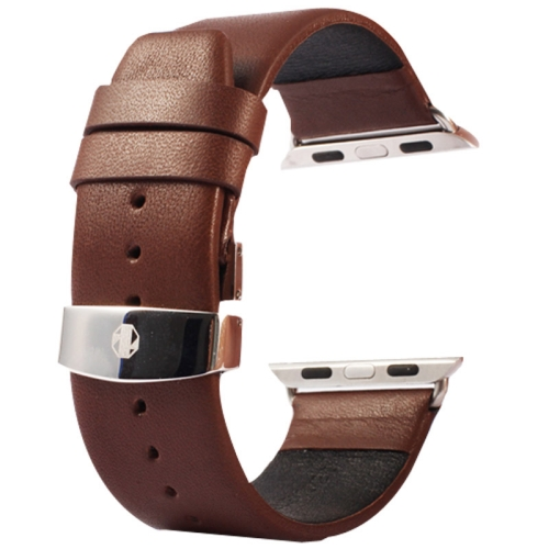 Buy Kakapi for Apple Watch 38mm Subtle Texture Double Buckle Genuine Leather Watchband with Connector, Coffee for $11.69 in SUNSKY store