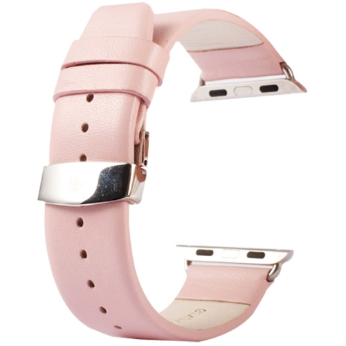 Buy Kakapi for Apple Watch 38mm Subtle Texture Double Buckle Genuine Leather Watchband with Connector, Pink for $11.69 in SUNSKY store