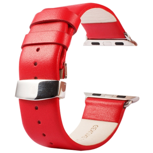 Buy Kakapi for Apple Watch 38mm Subtle Texture Double Buckle Genuine Leather Watchband with Connector, Red for $11.69 in SUNSKY store