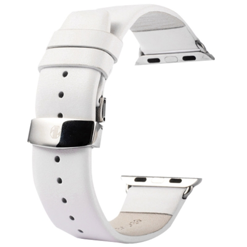 Buy Kakapi for Apple Watch 38mm Subtle Texture Double Buckle Genuine Leather Watchband with Connector, White for $11.69 in SUNSKY store