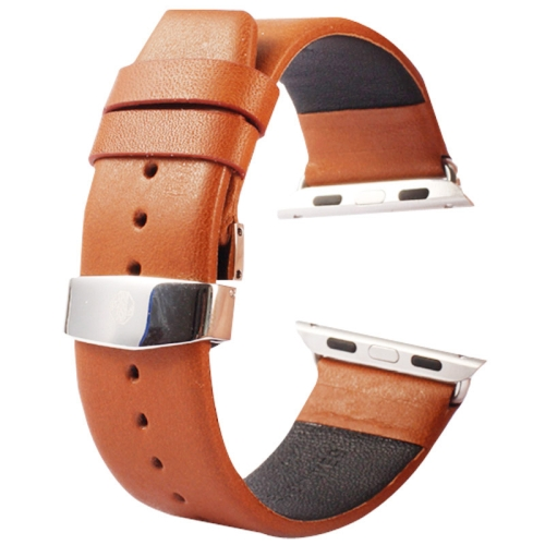 Buy Kakapi for Apple Watch 38mm Subtle Texture Double Buckle Genuine Leather Watchband with Connector, Brown for $11.69 in SUNSKY store