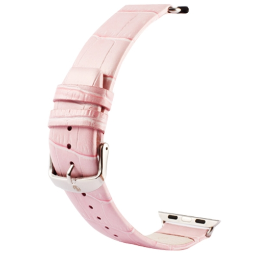 Buy Kakapi for Apple Watch 38mm Crocodile Texture Classic Buckle Genuine Leather Watchband with Connector, Pink for $8.22 in SUNSKY store