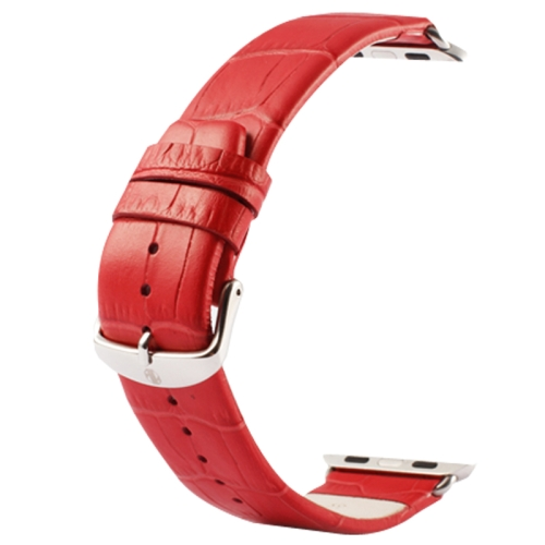 Buy Kakapi for Apple Watch 38mm Crocodile Texture Classic Buckle Genuine Leather Watchband with Connector, Red for $8.22 in SUNSKY store