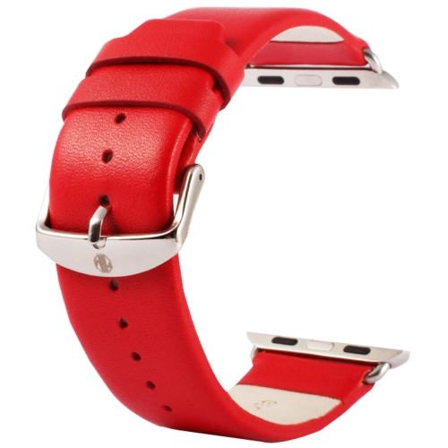 Buy Kakapi for Apple Watch 38mm Subtle Texture Classic Buckle Genuine Leather Watchband with Connector, Red for $8.22 in SUNSKY store