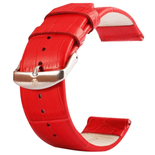 Buy Kakapi for Apple Watch 38mm Crocodile Texture Brushed Buckle Genuine Leather Watchband, Only Used in Conjunction with Connectors (S-AW-3291), Red for $4.76 in SUNSKY store
