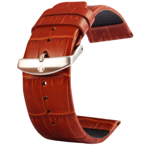 Buy Kakapi for Apple Watch 38mm Crocodile Texture Brushed Buckle Genuine Leather Watchband, Only Used in Conjunction with Connectors (S-AW-3291), Brown for $4.76 in SUNSKY store
