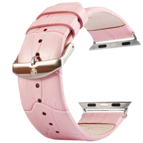 Buy Kakapi for Apple Watch 38mm Crocodile Texture Brushed Buckle Genuine Leather Watchband with Connector, Pink for $8.86 in SUNSKY store