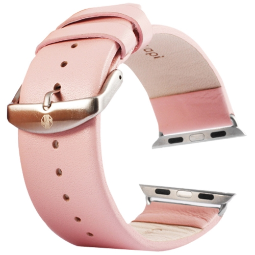 Buy Kakapi for Apple Watch 38mm Subtle Texture Brushed Buckle Genuine Leather Watchband with Connector, Pink for $8.22 in SUNSKY store