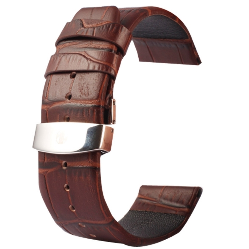 Buy Kakapi for Apple Watch 38mm Crocodile Texture Double Buckle Genuine Leather Watchband, Only Used in Conjunction with Connectors (S-AW-3291), Coffee for $7.63 in SUNSKY store