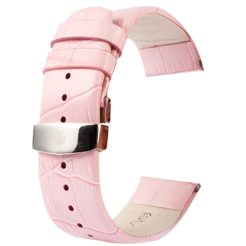 Buy Kakapi for Apple Watch 38mm Crocodile Texture Double Buckle Genuine Leather Watchband, Only Used in Conjunction with Connectors (S-AW-3291), Pink for $7.63 in SUNSKY store