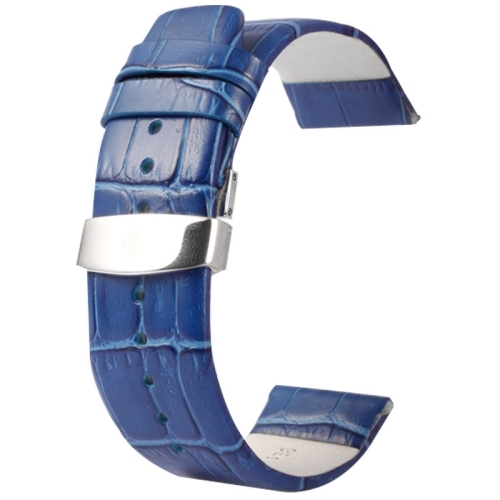 Buy Kakapi for Apple Watch 38mm Crocodile Texture Double Buckle Genuine Leather Watchband, Only Used in Conjunction with Connectors (S-AW-3291), Blue for $7.63 in SUNSKY store