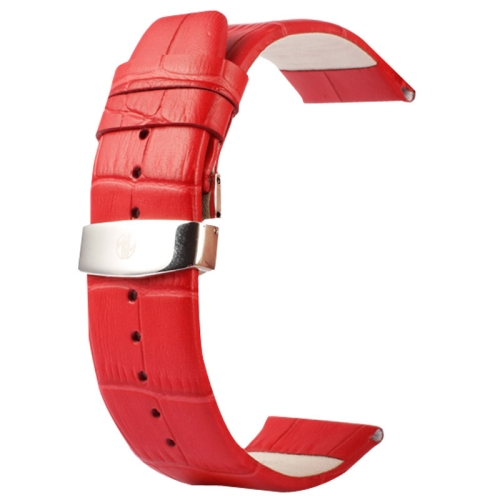 Buy Kakapi for Apple Watch 38mm Crocodile Texture Double Buckle Genuine Leather Watchband, Only Used in Conjunction with Connectors (S-AW-3291), Red for $7.65 in SUNSKY store