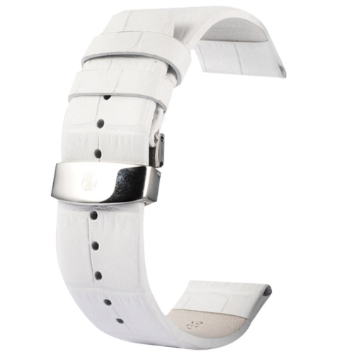Buy Kakapi for Apple Watch 38mm Crocodile Texture Double Buckle Genuine Leather Watchband, Only Used in Conjunction with Connectors (S-AW-3291), White for $7.65 in SUNSKY store