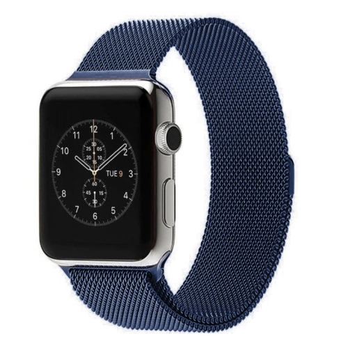 For Apple Watch 42mm Milanese Loop Magnetic Stainless Steel Watchband, Blue
