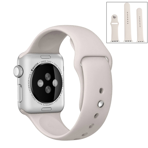 For Apple Watch Series 5 & 4 40mm / 3 & 2 & 1 38mm High-performance Ordinary & Longer Rubber Sport Watchband with Pin-and-tuck Closure(Beige) фото