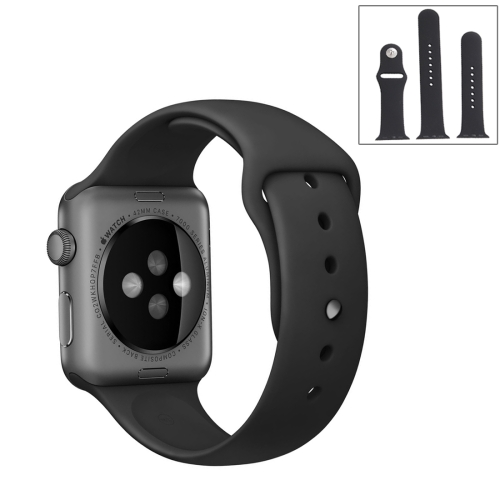 For Apple Watch Sport 42mm High-performance Ordinary & Longer Rubber Sport Watchband with Pin-and-tuck Closure(Black)