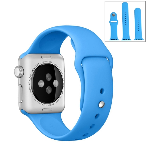 For Apple Watch Sport 42mm High-performance Ordinary & Longer Rubber Sport Watchband with Pin-and-tuck Closure, Blue