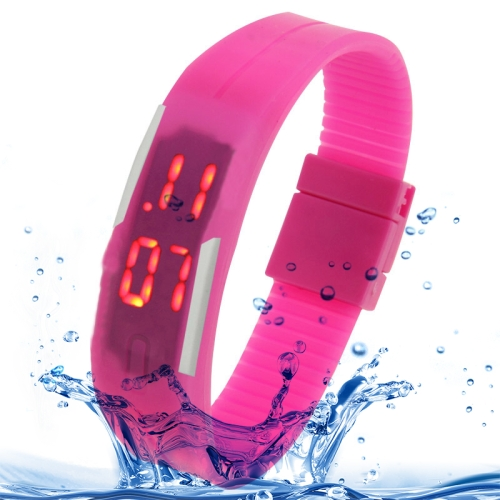 Buy Fashion Waterproof Silicone Bracelet Watch with LED Display, Magenta for $1.17 in SUNSKY store