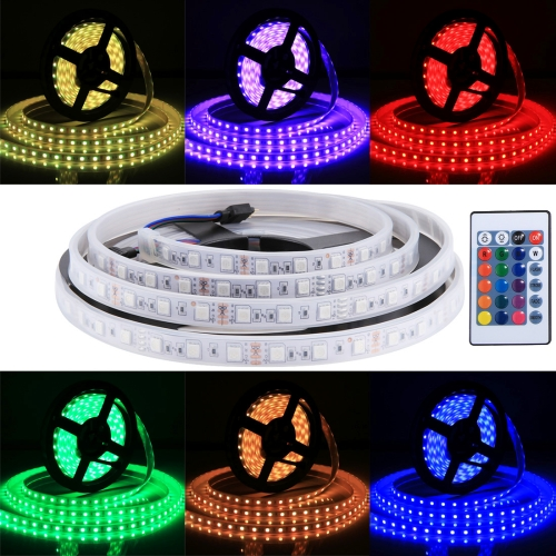 Casing Waterproof Rope Light, Length: 5m, Colorful Light 5050 SMD LED with 24 Keys Remote Control, 30 LED/m, 12V 5A