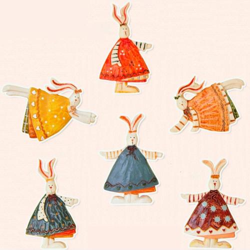 Buy 6 PCS European Countryside Style Rabbit Fridge Magnet Cartoon Hare Resin Magnet for $5.71 in SUNSKY store