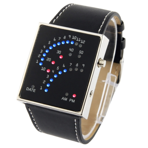 LED Digital Watch with Leather Strap, Support 29 Super Bright LED