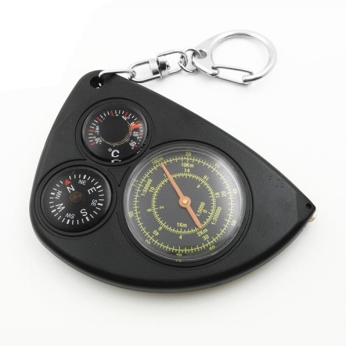 Buy 3-in-1 Portable Map Distance Measuring Measurer + Compass + Thermometer with Key Chain for Outdoor Camping Hiking, Black for $2.66 in SUNSKY store