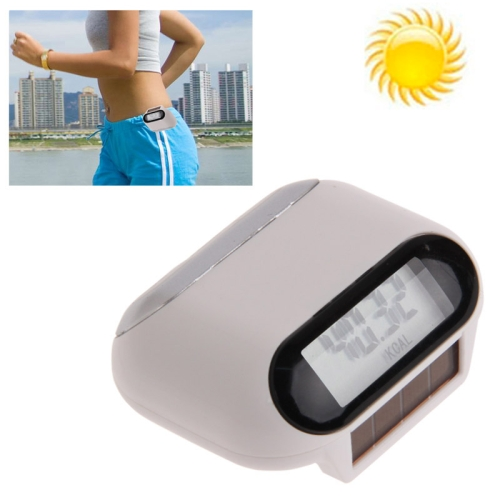 Buy Multi-function Solar Power Mini Pedometer with LCD Display & Belt Clip, White for $3.24 in SUNSKY store