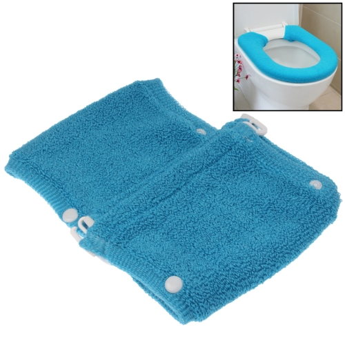 General Thicken Button Type Toilet Cushion Circle of Toilet Seat Cover, Blue