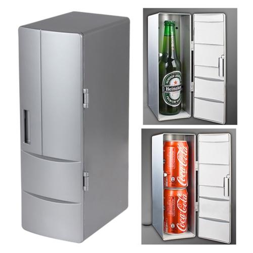 Buy USB PC Mini Fridge Beverage Drink Cooler / Warmer, Size: 24.5x10.8x8.3cm, Silver for $16.90 in SUNSKY store