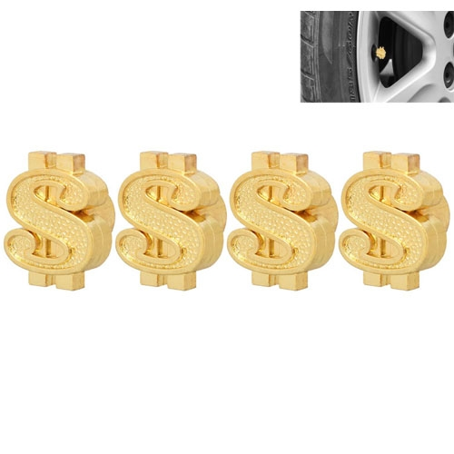 Universal 8mm Dollar Style Plastic Car Tire Valve Caps, Pack of 4(Gold)